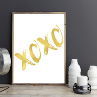 XoXo Print Hugs and Kisses Art Print Love Home Decor Girl Nursery Decor xoxo printable hugs and kisses printable gold xoxo printable