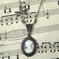 Blue Victorian Lady Cameo Necklace RagTraderVintage.com