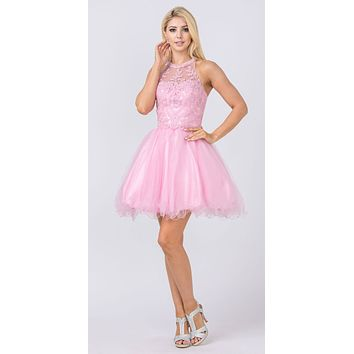 Halter Beaded Homecoming Short Dress Rose