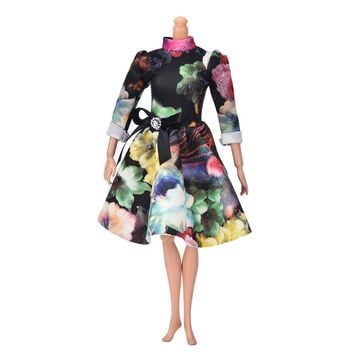 """Beautiful Handmade Party Clothes Dress for 9"""" Barbie Doll Mini Big Flover Print Doll Evening Dress"""