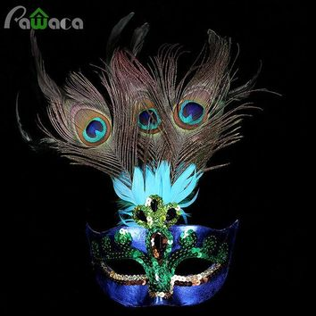 DKF4S Party Mask Woman Female Masquerade Masks Luxury Peacock Feathers Half Face Mask Party Cosplay Costume Halloween Venetian Mask