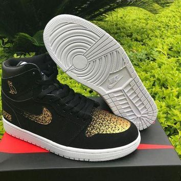 PEAPONVX Jacklish Air Jordan 1 Retro High Og Ovo Black Gold For Sale