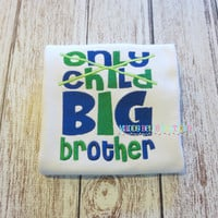 Only Child / Big Brother Embroidered Shirt (Green/Blue) - Embroidered Shirt, Boys, Big Brother Shirt, Brother, Sibling