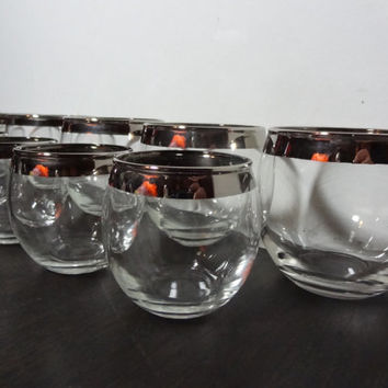 Vintage Set of 12 Silver Rimmed Cocktail Bar Glasses - Roly Poly Glasses - 2 Sizes - 8oz and 4oz - Mid Century Modern - Mad Men Style