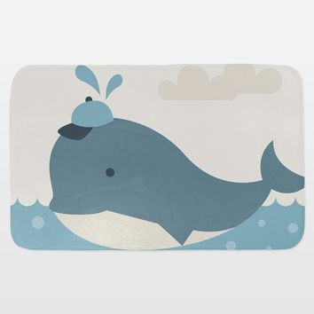 Baby Boy Whale Bath Mat by Texnotropio on BoomBoomPrints