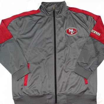 San Francisco 49ers Majestic Tricot Track Jacket Size 2XL
