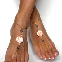 Gold and Orange Rose Barefoot Sandals