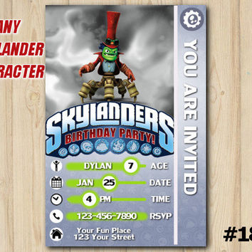 Skylanders Invitation Trap Team Card Birthday Party Custom Printable File DIY183