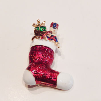 Christmas Stocking Pin Brooch