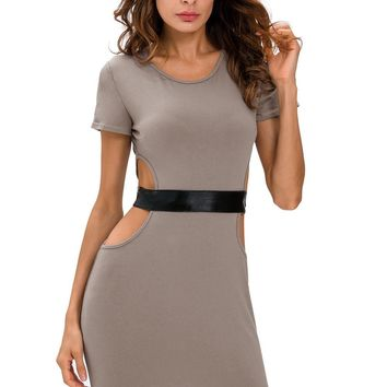 Gray Faux Leather Strap Cut Out Dress