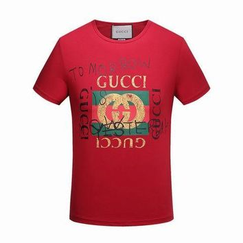 Gucci men and women T-Shirt Black, white, red M/3XL