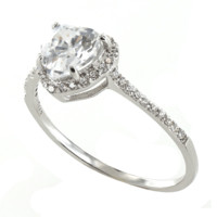 Dazzling Love - Sterling Silver Ring with Clear CZ Stones