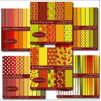 autumn leaves mega pack, 6 fall digital paper packs, fall trees leaves pumpkins striped polka dot ombre quatrefoil digital download DP202