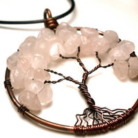 Rose Quartz Tree of Life Pendant in Earth Toned Copper- Love