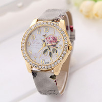 Peony Pattern with Gilt Digital Quartz Casual Leather Wrist Band Watch