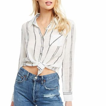 Women's Chaser Classic Long Sleeve Button Down Stripe Shirt