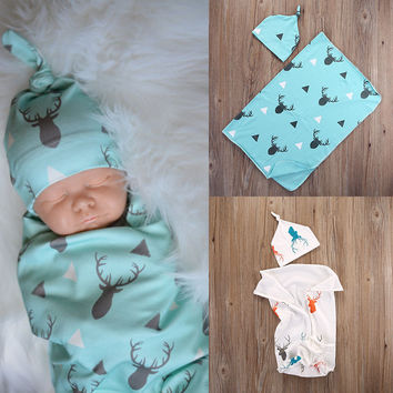 Fashion Toddler Newborn Baby Boy Girl Warm Blankets Christmas Cute Deer Soft Stretch Wrap Swaddle Blanket