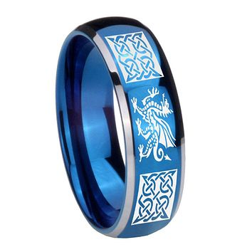 8mm Multiple Dragon Celtic Dome Blue 2 Tone Tungsten Wedding Engagement Ring