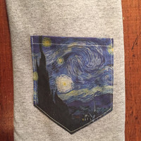 Van Gogh starry pocket tee shirt s/m/l/xl art