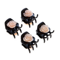 Black Carved Rose Mini Hair Clasps