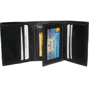 Men's Trifold Flap ID card holder leather wallet 961107
