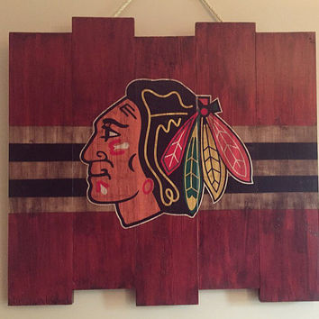 Chicago Blackhawks Large Wooden Stained Flag; Handpainted; Chicago Flag; Hockey Decor; Mancave; Wood Sign; Wood Wall Art; NHL; Boyfriend