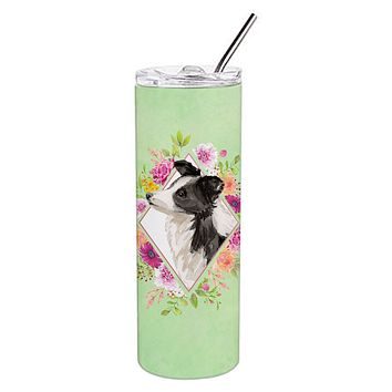 Border Collie Green Flowers Double Walled Stainless Steel 20 oz Skinny Tumbler CK4418TBL20