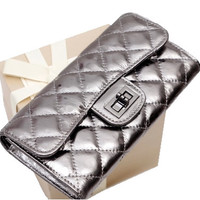 Ray--long section raindropmarks wallet  kiss lock Leather women purse