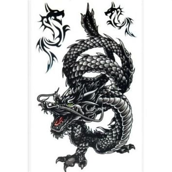 Cool Men Dragon Tattoo Waterproof Temporary Stickers Tattoos for Men