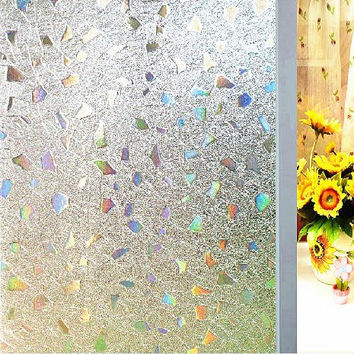 Coavas No-Glue 3D Static Decorative Privacy Window Film for Bathroom or Kitchen (17.7-by-78.7 Inch)