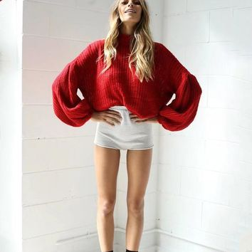 Pullover Knit Tops Winter High Neck Sweater [11359551751]