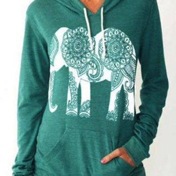 Green Elephant Printed Hooded Sweatshirt