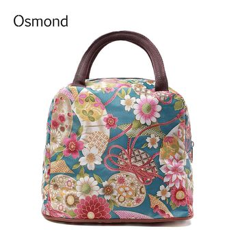 2017 Hot Sale Women Lunch Bags Lady Picnic Handbags Lunchbox Character Pattern Vintage Style Portable Carry Box Storage