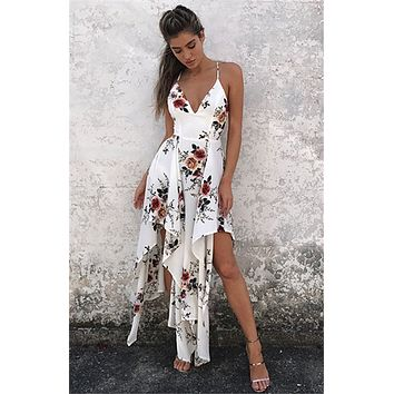 ASYMMETRICAL FLORAL SUNDRESS