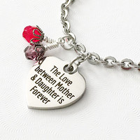 Mother Daughter Jewelry - Mothers Day Charm Bracelet - Daughter Gift - Words Charm - Stainless Steel Heart - Forever Love - Birthstone Gift