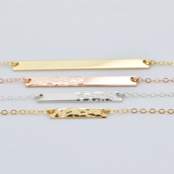 Dainty Bar Necklace, Hammered Bar Necklace Gold, Minimal Jewelry, Delicate Bar Necklace, Dainty Jewelry Gold, Silver, Rose Gold