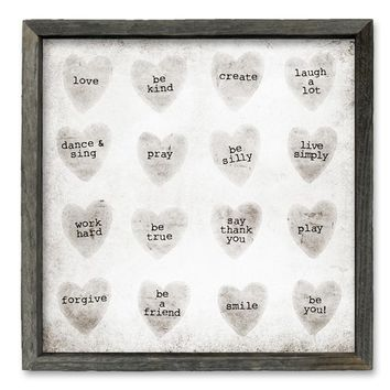 Rustic Framed Shelf Art - Candy Hearts - Rustic Grey Tone Frame 5x5