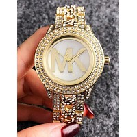 "Hot Sale ""MICHAEL KORS"" MK Popular Ladies Men Delicate Diamond Quartz Movement Wristwatch Watch Golden I11963-1"