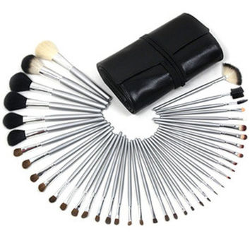 Cosmetic 40 Pcs Wool Makeup Brushes Set with Brush Bag