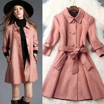 Fashion Single-Breasted Deerskin Coat