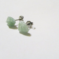 Medium Raw Green Quartz Stud Earrings | QG006 | Natural Quartz Posts | Green Crystal Earrings |Quart Crystal Posts | Fashion Gemstones