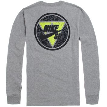 Nike SB Flashback Long Sleeve T-Shirt - Mens Tee - E. Heather Grey