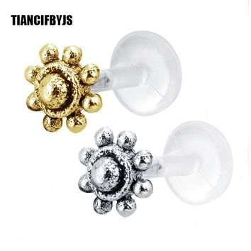 TianciFBYJS Silver Labret Stud Crystal Cartilage Piercing Tragus Earrings Lip Ring Tree OF life Flower Bead Body Jewelry