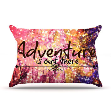 """Ebi Emporium """"Adventure is Out There"""" Pink Typography Pillow Case"""