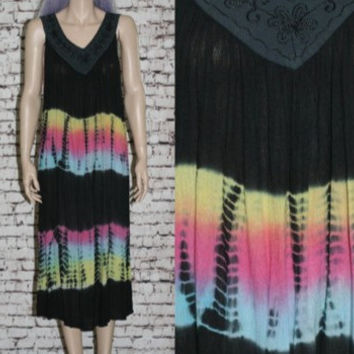 90s Dress Gauzy Oversize Tent Neon Rainbow Black tie dye Ethnic Embroidered Boho Hippie Festival hipster grunge 70s S M L Distressed smock