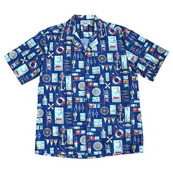nautical blue hawaiian cotton shirt