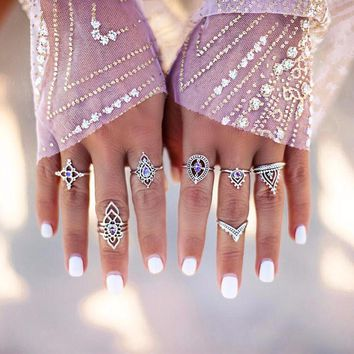 10 Pcs/Set Vintage Women Gold Silver Crown Lotus Water Drop Knuckle Rings Tribal Ethnic Carved Joint Ring #244499