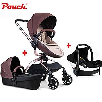 Fashion 3 in 1 Baby Jogger Travel System, Baby Stroller + Independent Sleeping Basket + Cabas, Luxury PU Pushchair, High-view, Folding, Bidirectional (Coffee-1)