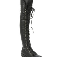 Black Lace-Up PU Boots