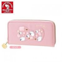 Hello Kitty 40th Anniversary Long Wallet Leather Bling Bling Gem Style Ribbon